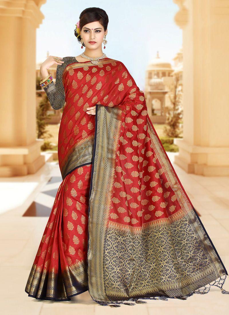 Blue and Red Zari Work Art Silk Classic Designer Saree