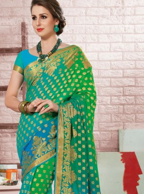 Blue and Sea Green Crepe Silk Festival Shaded Saree