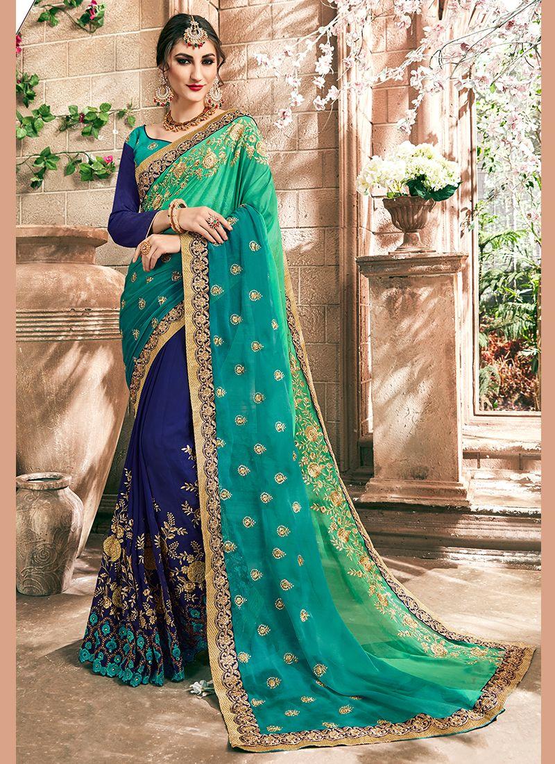 Blue and Sea Green Faux Chiffon Embroidered Designer Half N Half Saree