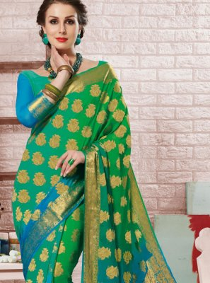 Blue and Sea Green Festival Shaded Saree