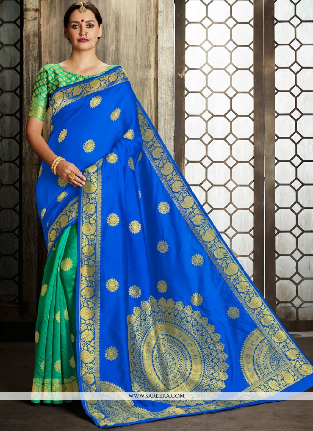 Blue and Sea Green Weaving Work Art Silk Half N Half Designer Saree
