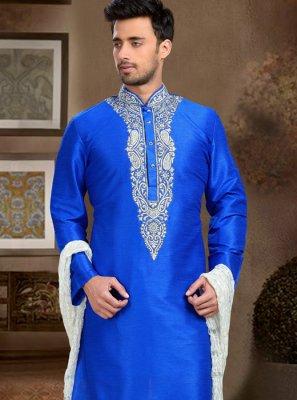 Blue Art Dupion Silk Embroidered Work Kurta Pyjama