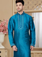 Blue Art Dupion Silk Reception Kurta Pyjama