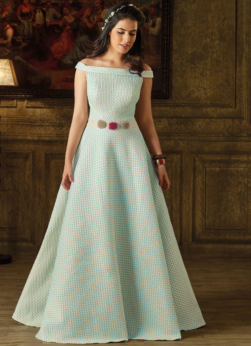 Blue Art Silk Fancy Work Readymade Gown
