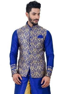 Blue Art Silk Kurta Payjama With Jacket