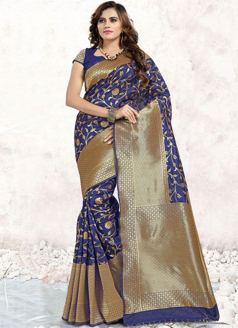 Blue Banarasi Silk Ceremonial Classic Saree