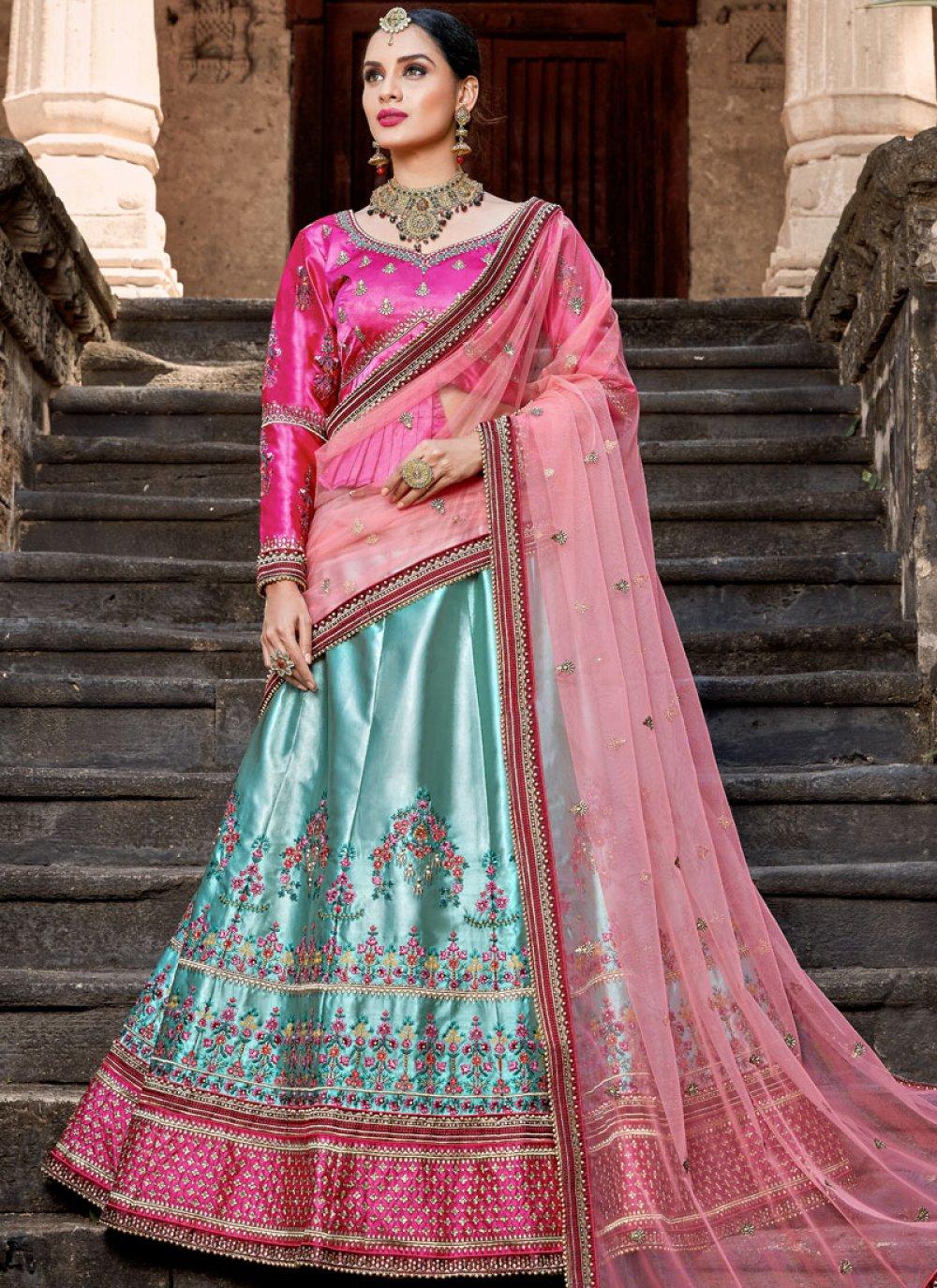 Blue Bridal Satin Lehenga Choli