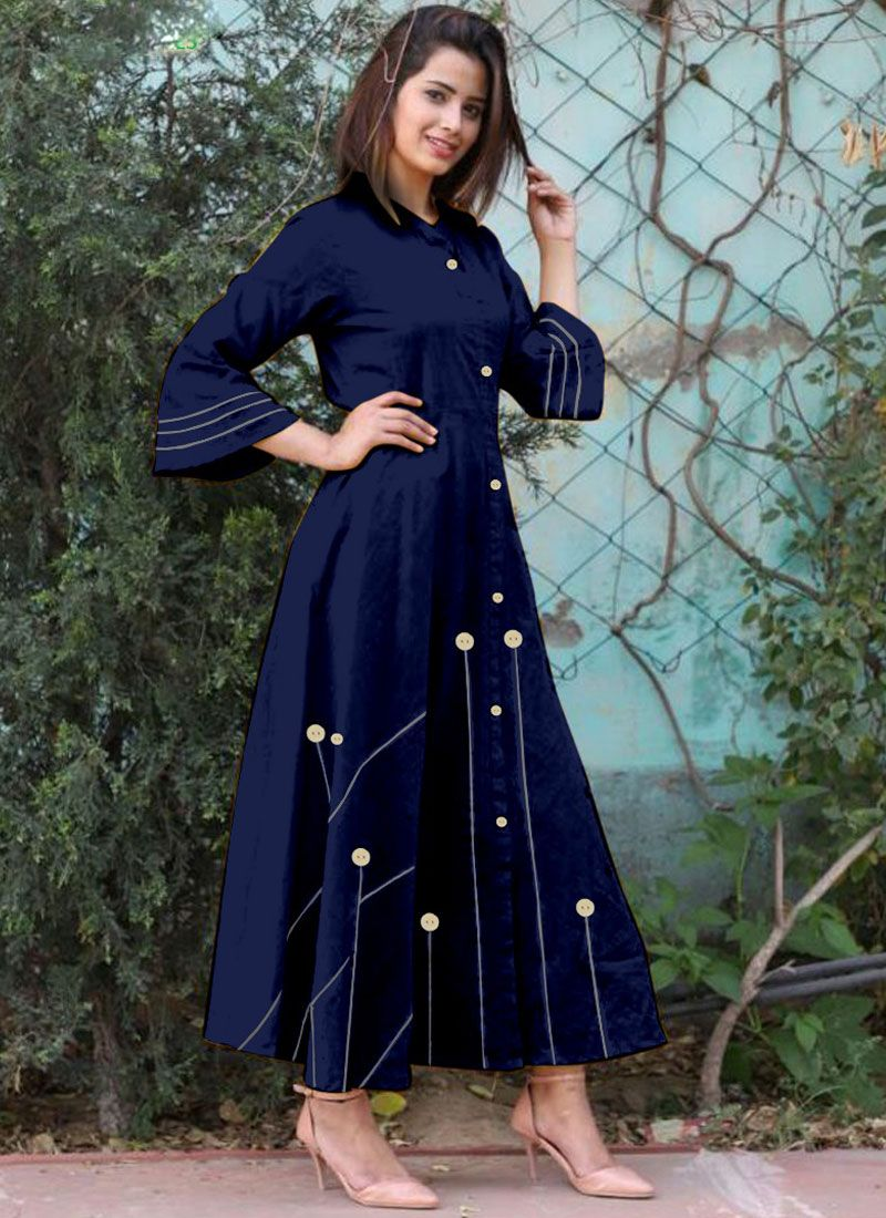 Blue Buttons Work Cotton   Casual Kurti