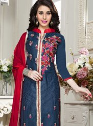 Blue Cotton   Churidar Salwar Kameez