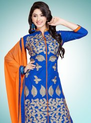 Blue Cotton   Party Designer Straight Suit
