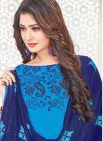 Blue Cotton Satin Embroidered Churidar Suit