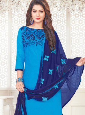 Blue Cotton Satin Embroidered Churidar Suit