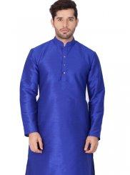 Blue Cotton Silk Festival Kurta Pyjama