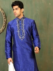 Blue Dupion Silk Embroidered Work Kurta Pyjama