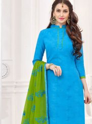 Blue Embroidered Churidar Suit