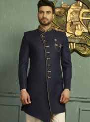 Blue Embroidered Indo Western