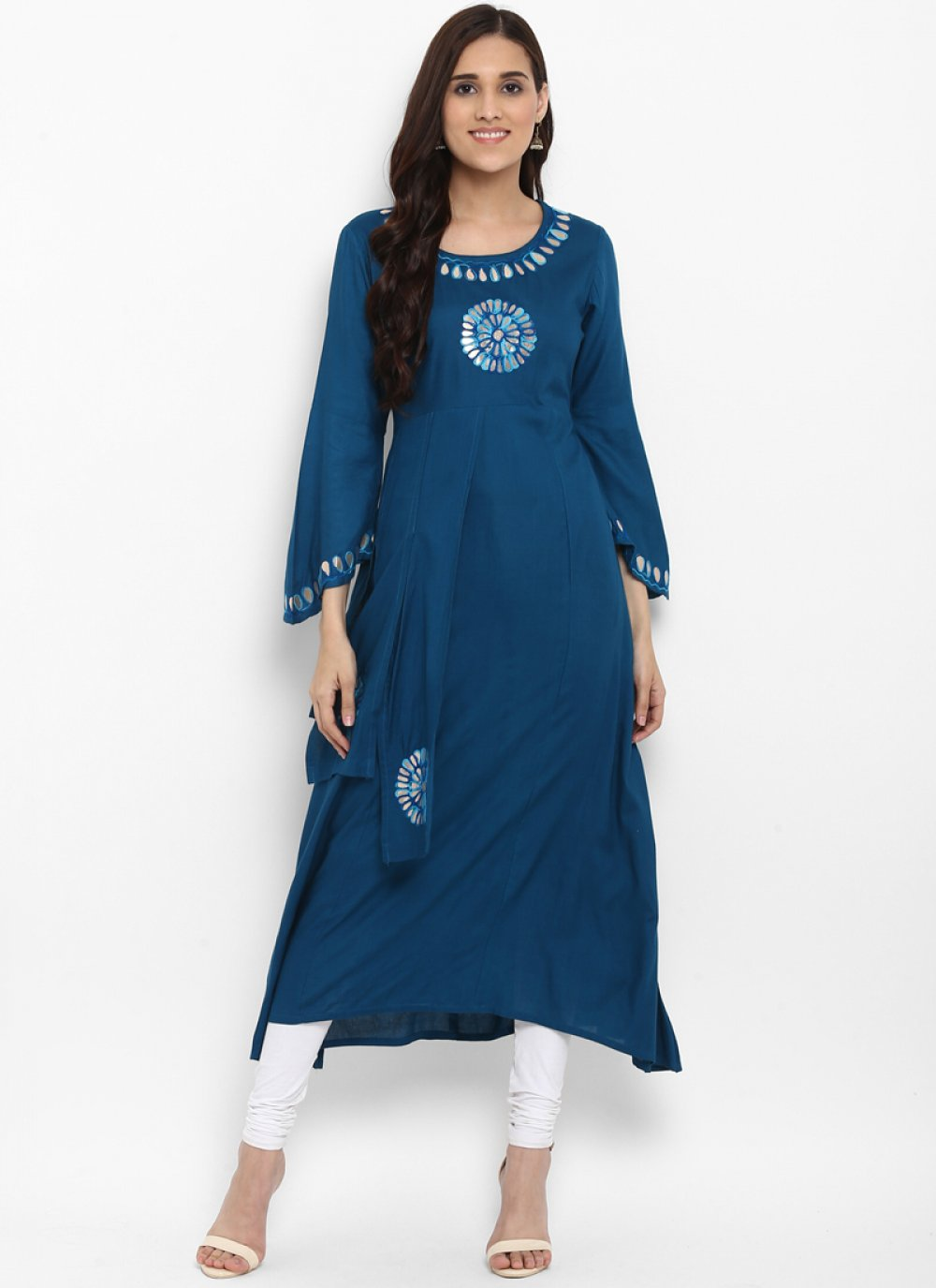 Blue Embroidered Party Kurta