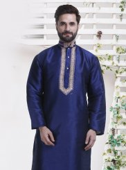 Blue Embroidered Sangeet Kurta Pyjama