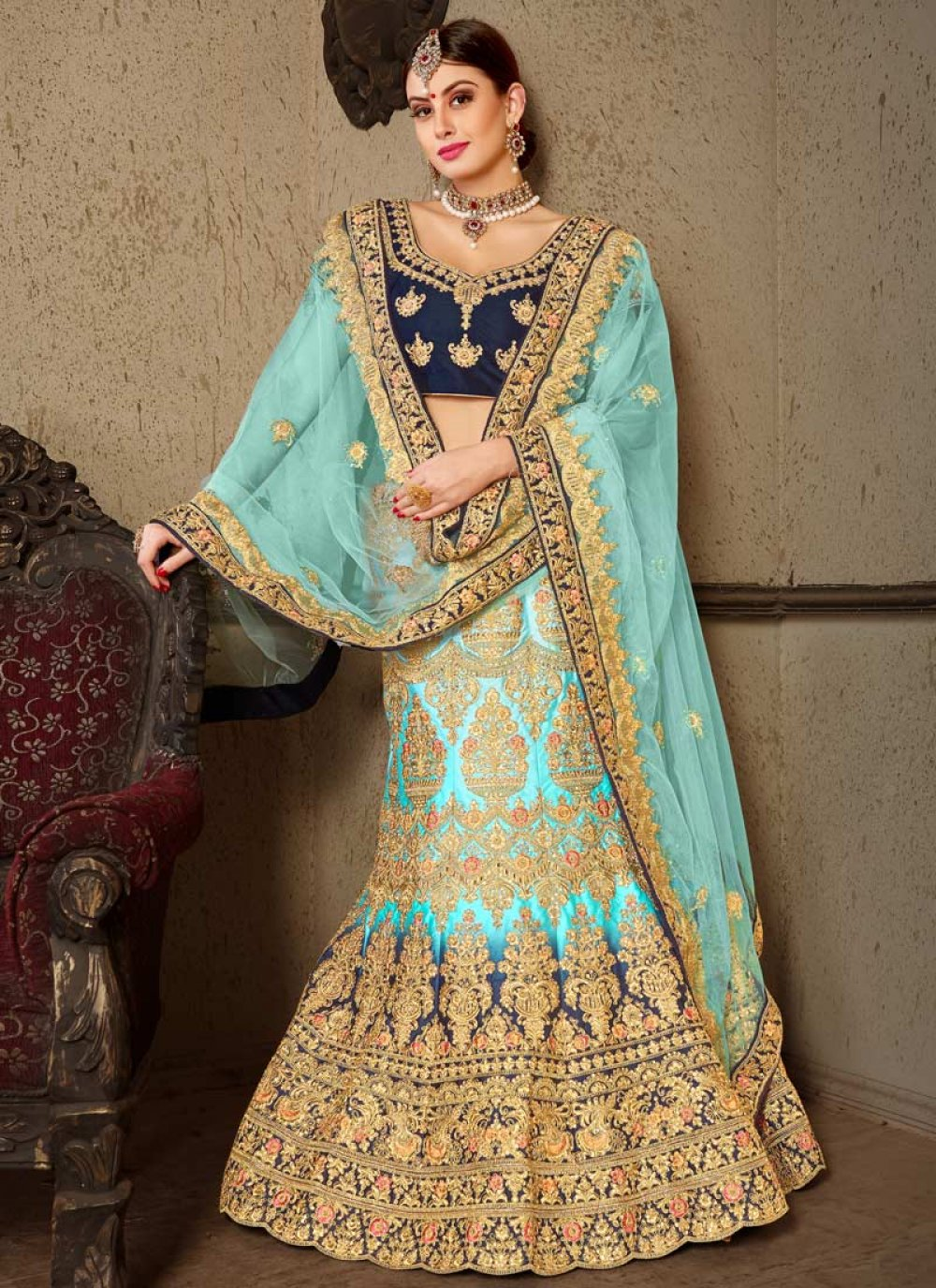 Blue Embroidered Satin Lehenga Choli