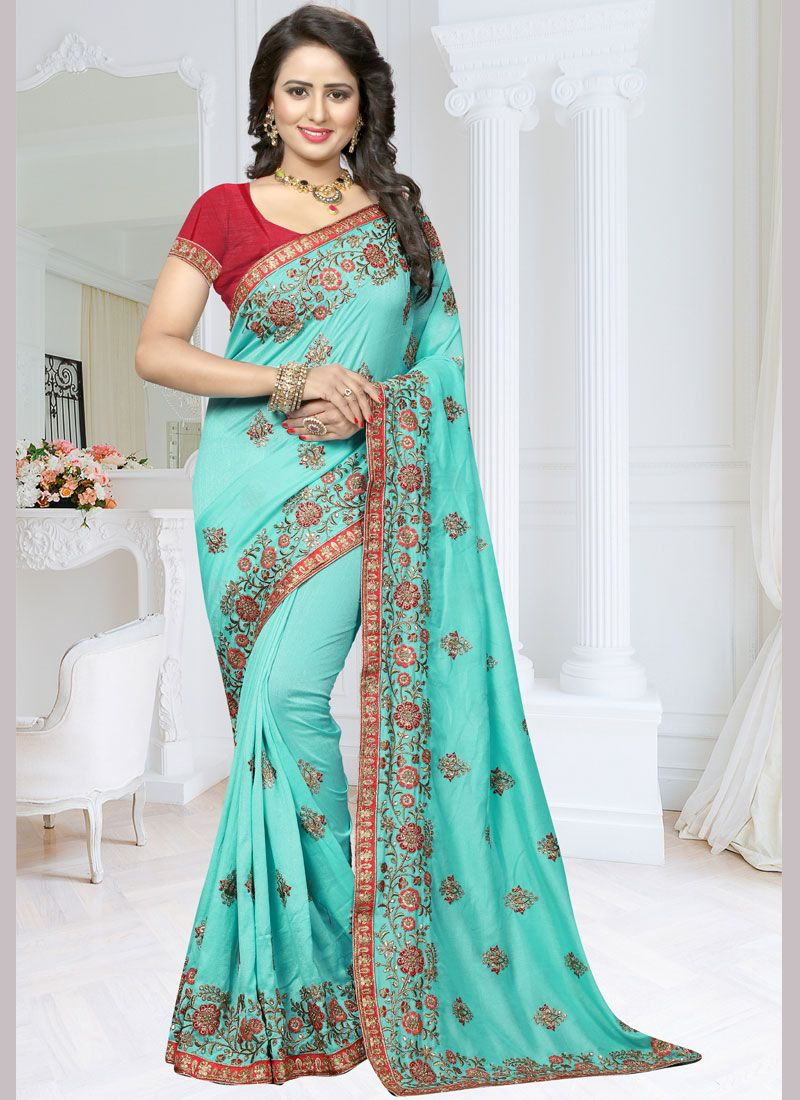 Blue Embroidered Work Art Silk Traditional  Saree