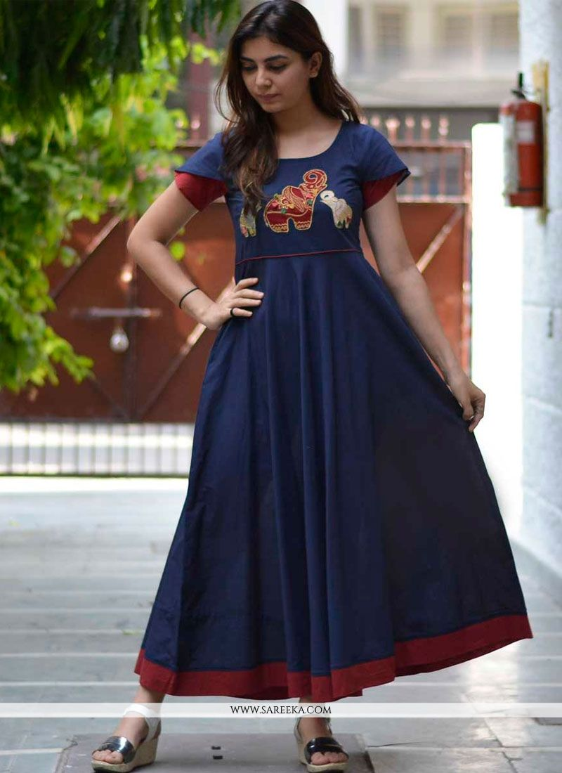 Blue Embroidered Work Cotton   Party Wear Kurti