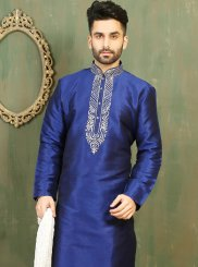Blue Embroidered Work Dupion Silk Kurta Pyjama