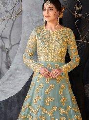 Blue Embroidered Work Floor Length Anarkali Suit