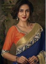 Blue Embroidered Work Jacquard Classic Designer Saree