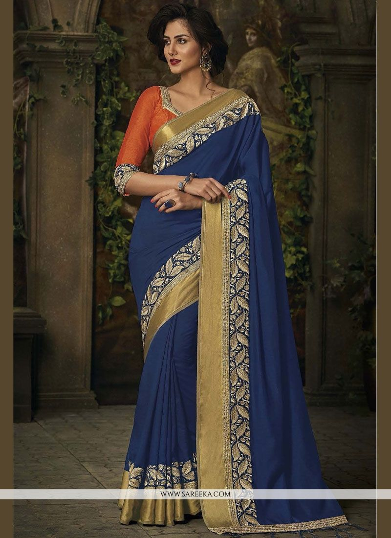Blue Embroidered Work Jacquard Classic Designer Saree