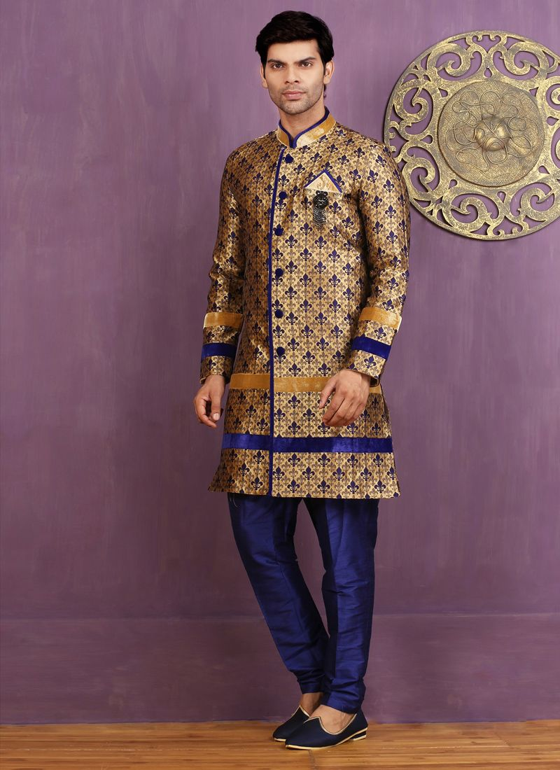 Blue Embroidered Work Jacquard Silk Indo Western Sherwani