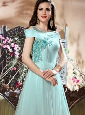 746b1ed205c5 Blue Embroidered Work Readymade Gown