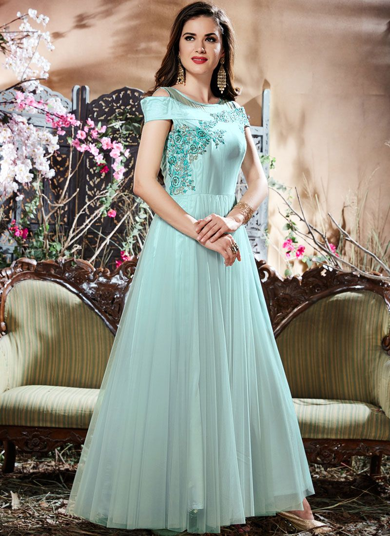 Blue Embroidered Work Readymade Gown