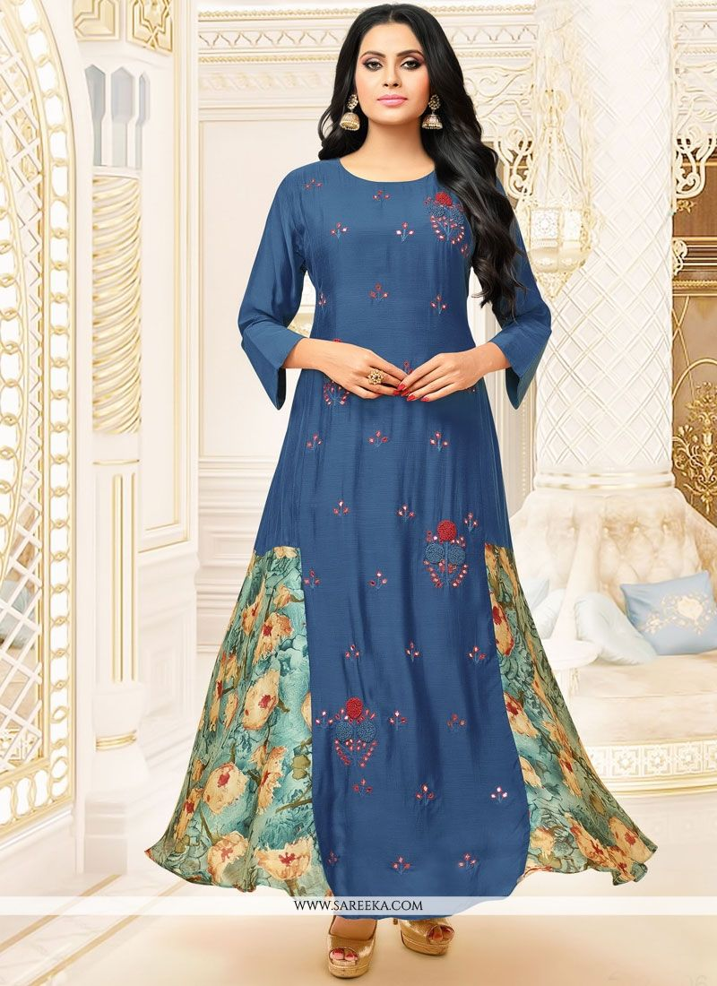 Blue Fancy Fabric Party Wear Kurti