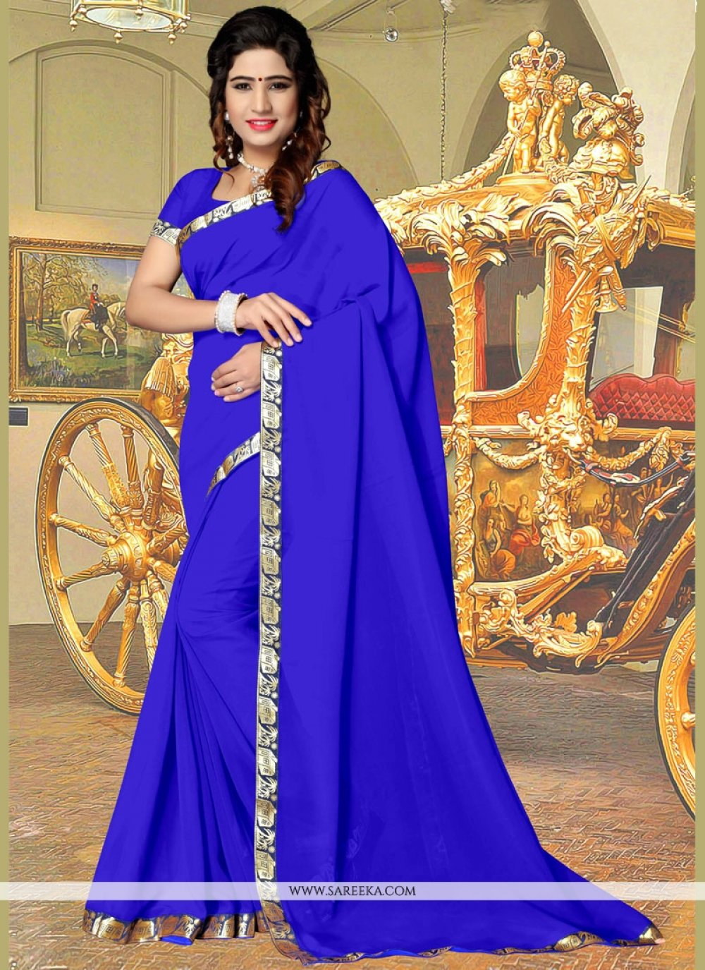 Blue Faux Georgette Casual Saree