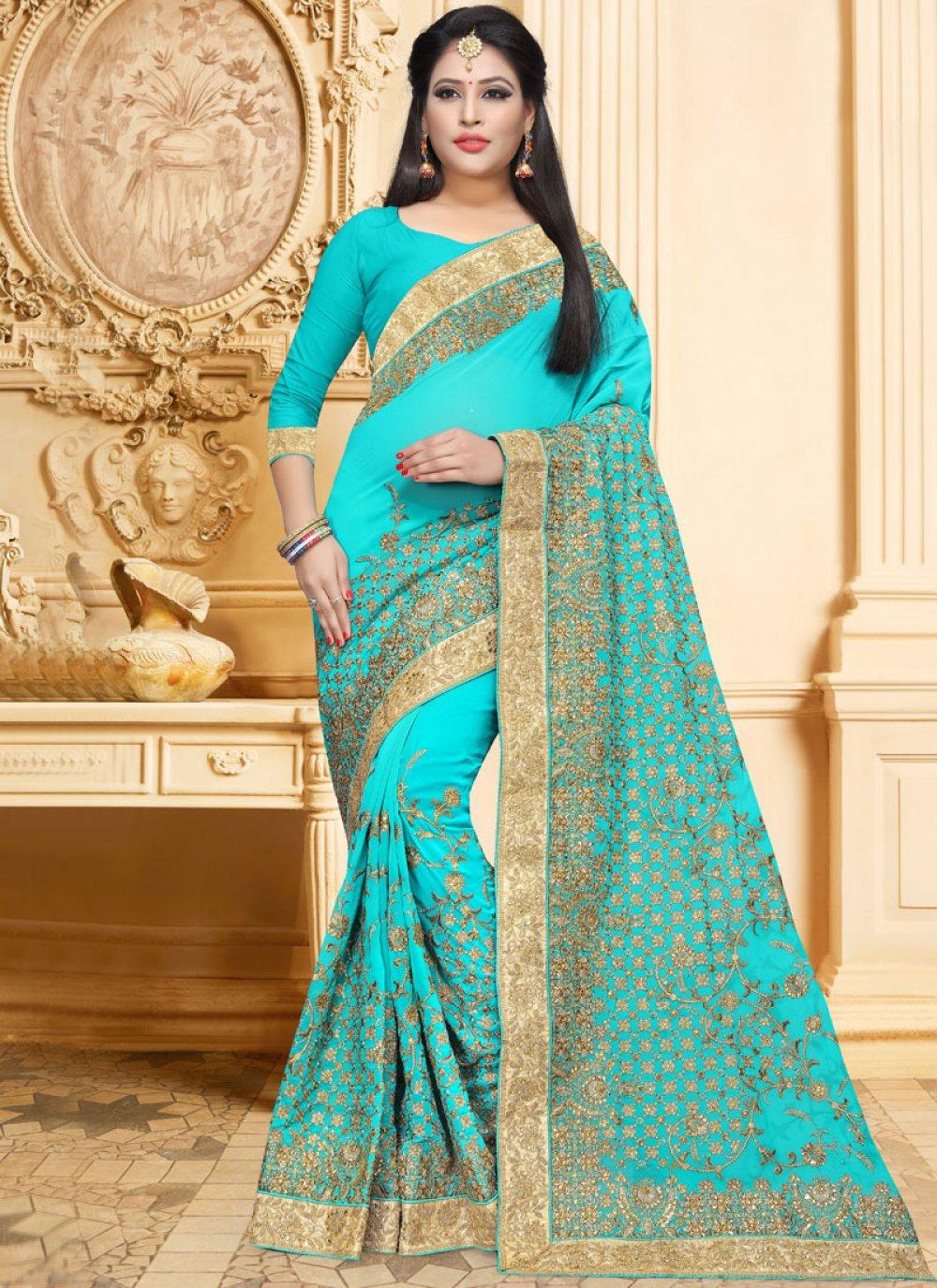 Blue Faux Georgette Classic Designer Saree