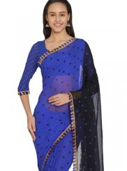 Blue Faux Georgette Fancy Casual Saree