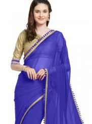 Blue Faux Georgette Festival Casual Saree