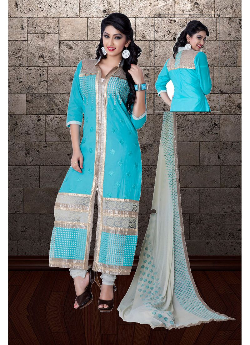 Blue Festival Designer Straight Suit