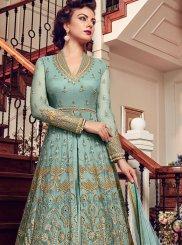 Blue Floor Length Anarkali Suit