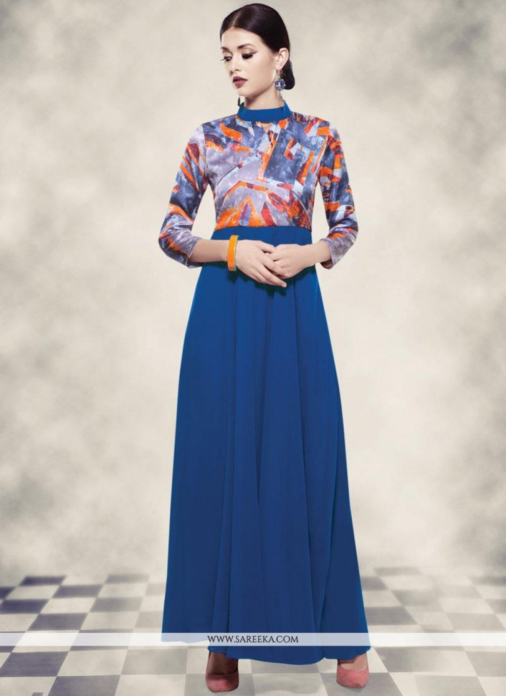 Blue Georgette Printed Work Work Readymade Gown