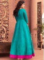 Blue Hand Work Work Banglori Silk Floor Length Anarkali Suit