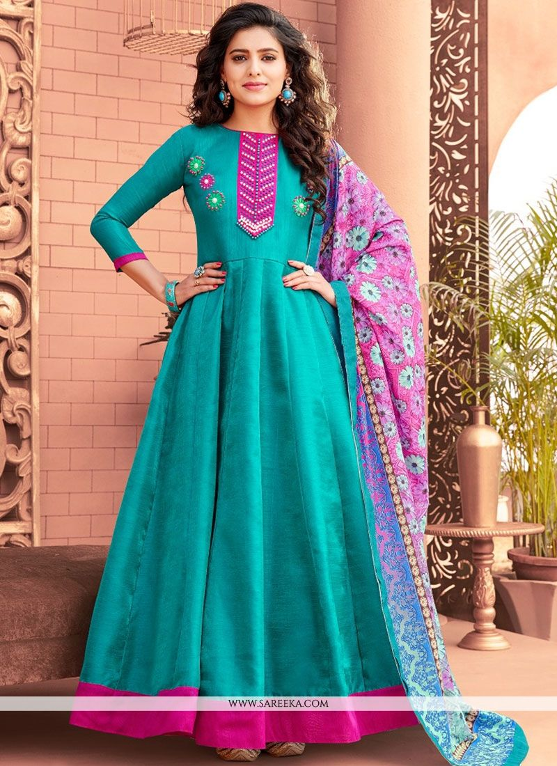 Blue Hand Work Work Banglori Silk Floor Length Anarkali Suit