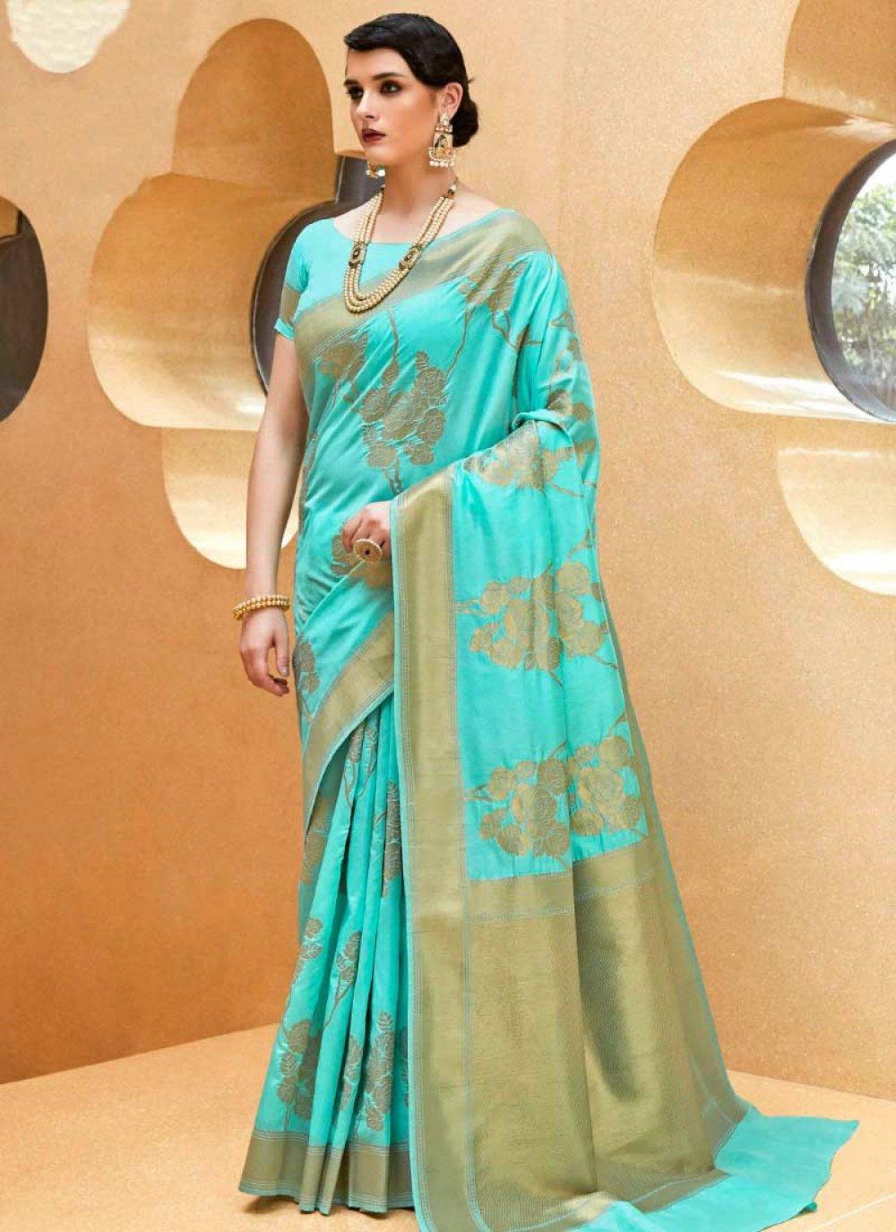 Blue Handloom silk Weaving Traditional  Saree