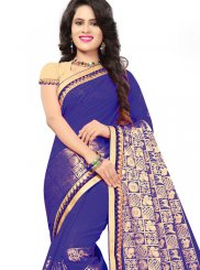 Blue Jacquard Silk Embroidered Classic Saree