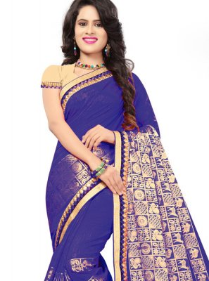 Blue Jacquard Silk Embroidered Classic Saree