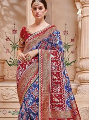Blue Jacquard Silk Mehndi Trendy Saree