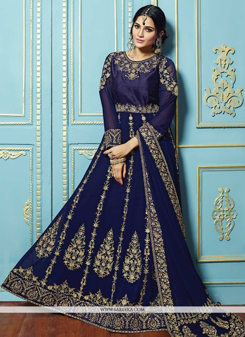 Blue Lace Work Floor Length Anarkali Suit