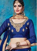 Blue Lace Work Net Lehenga Choli