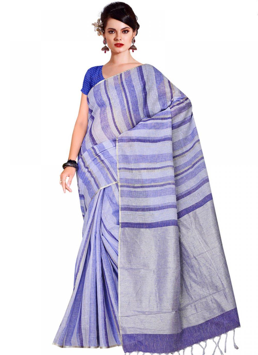 Blue Linen Party Classic Saree