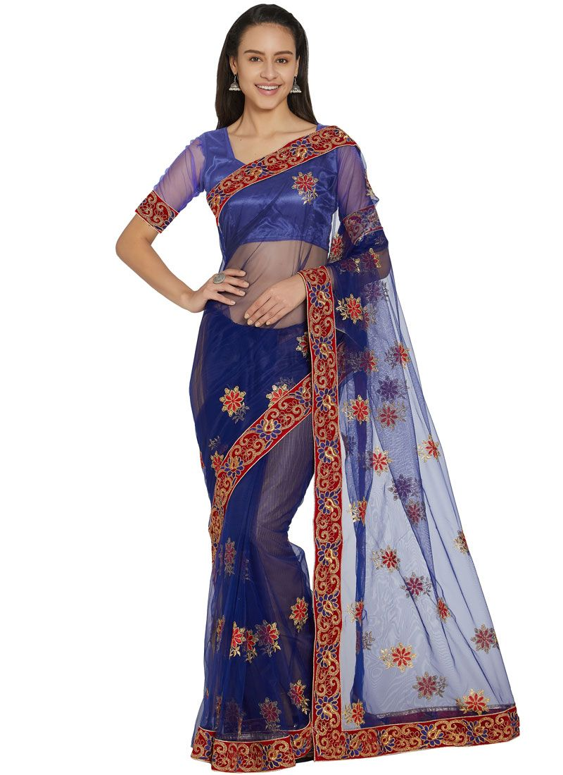 Blue Net Casual Saree